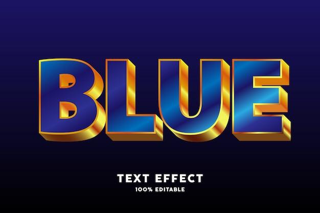 Efeito de texto brilhante estilo ouro azul