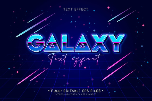 Efeito de texto brilhante galáxia