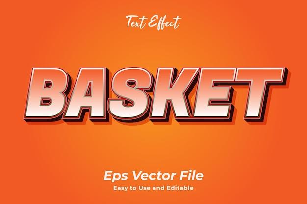 Efeito de texto cesta editável e fácil de usar premium vetor
