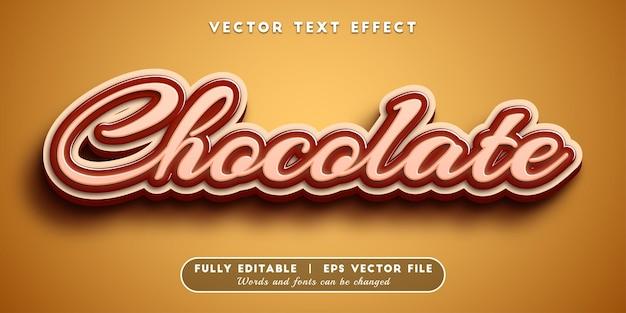 Efeito de texto chocolate com estilo de texto editável