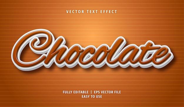 Efeito de texto chocolate, estilo de texto editável