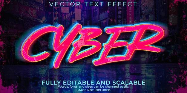 Efeito de texto cibernético, futuro editável e estilo de texto neon