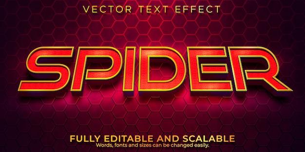 Efeito de texto cinematográfico aranha, estilo de texto editável em vermelho e dourado