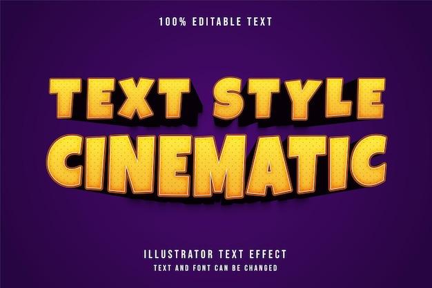 Efeito de texto cinematográfico, efeito de texto editável gradação amarela estilo de texto em quadrinhos laranja