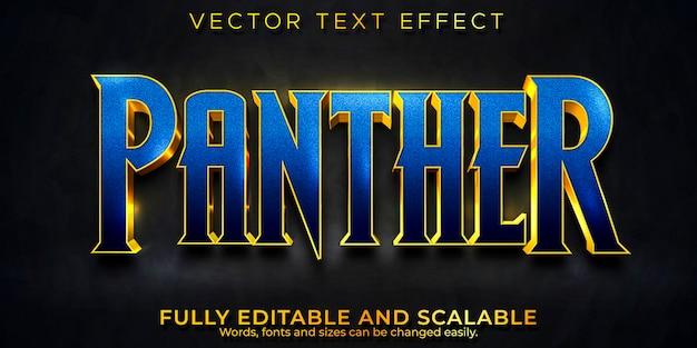 Efeito de texto cinematográfico panther, estilo de texto editável em preto e metálico