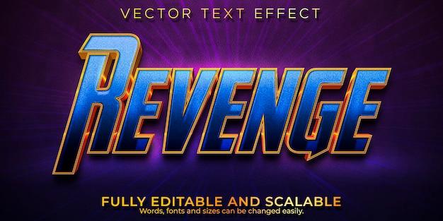 Efeito de texto cinematográfico vingança, estilo de texto editável em azul e dourado