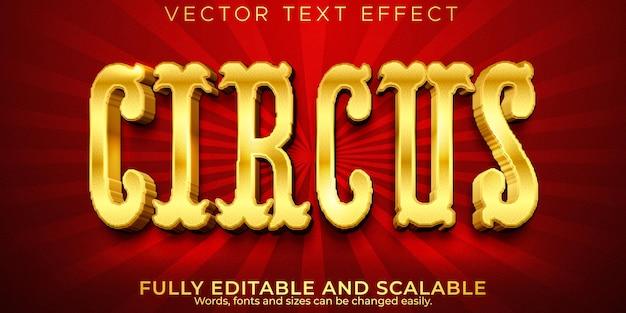 Efeito de texto circense dourado, luxo editável e estilo rich text