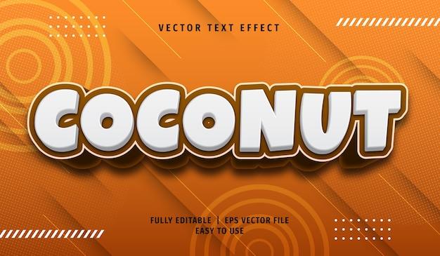 Efeito de texto coco 3d, estilo de texto editável