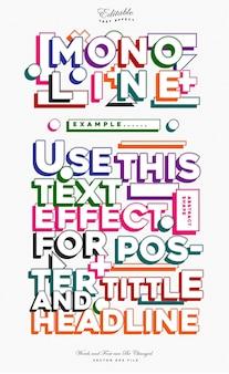 Efeito de texto colorido de linha mono