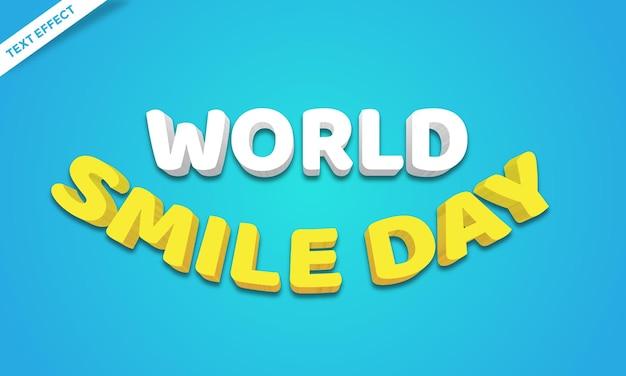 Efeito de texto colorido do dia do sorriso feliz