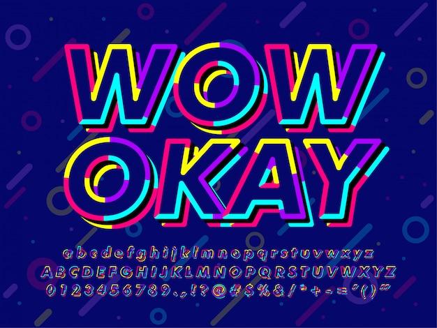 Efeito de texto colorido escuro memphis
