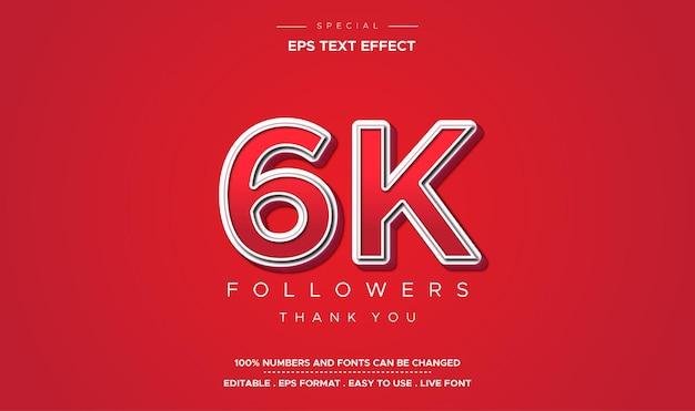 Efeito de texto com 6 mil seguidores em vermelho