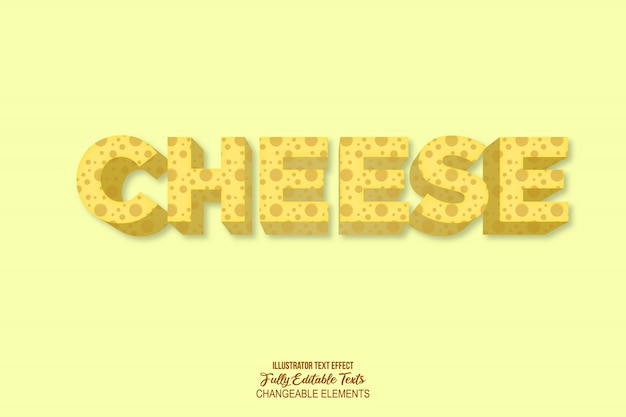 Efeito de texto com estilo de queijo