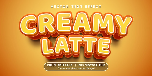 Efeito de texto com leite cremoso com estilo de texto editável