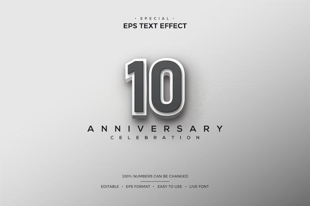 Efeito de texto com o número 10 em camadas em preto e branco