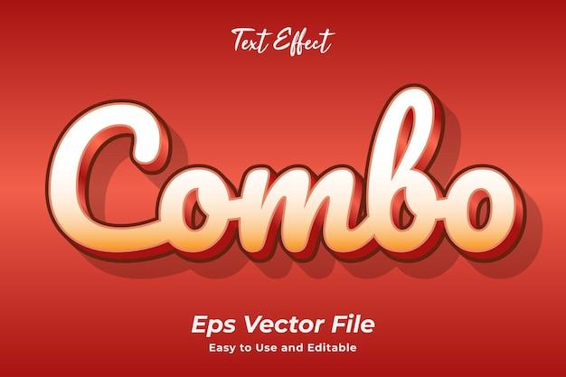 Efeito de texto combo editável e fácil de usar premium vector