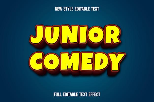 Efeito de texto comédia júnior 3d cor amarelo e laranja gradiente efeito de texto comédia júnior 3d cor gradiente amarelo e laranja