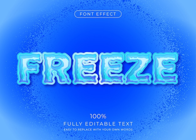 Efeito de texto congelado. estilo de fonte editável