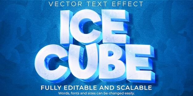 Efeito de texto congelado, estilo de texto editável frio e geado