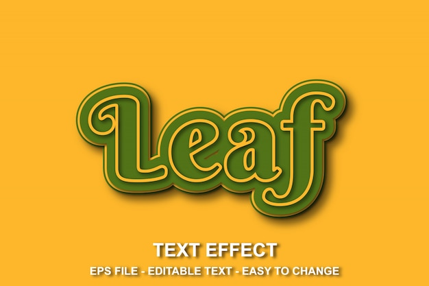 Efeito de texto cor amarela e verde