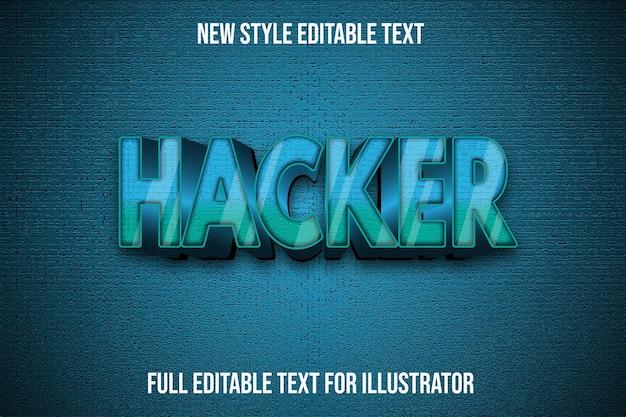 Efeito de texto cor do hacker gradiente verde e preto