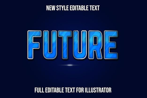 Efeito de texto cor futura gradiente de azul e prata
