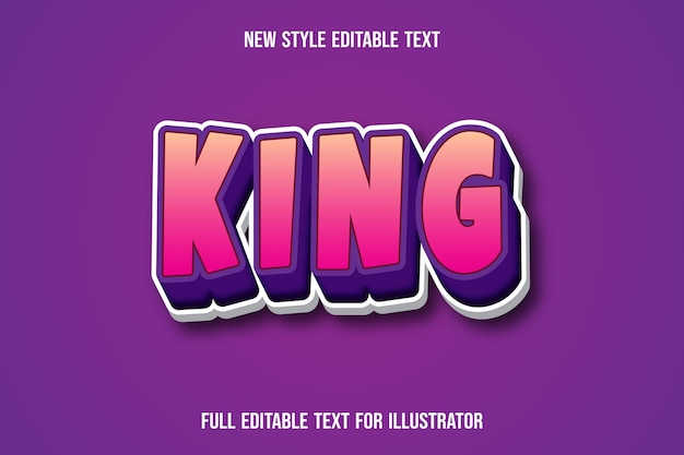Efeito de texto cor king gradiente rosa e roxo