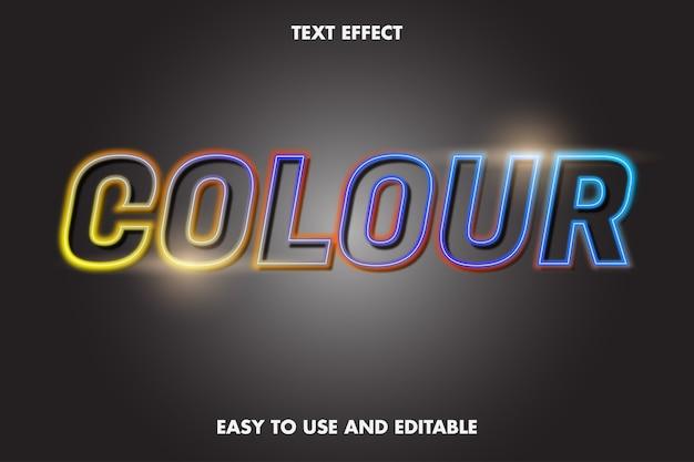 Efeito de texto - cor neon. estilo de fonte editável.