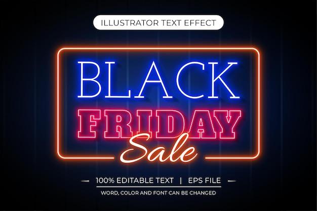 Efeito de texto criativo de luz de néon editável de black friday