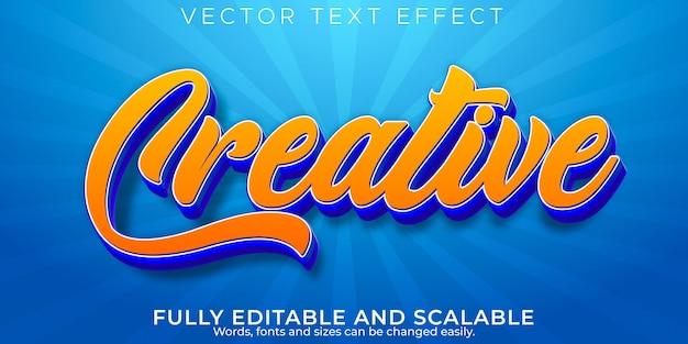 Efeito de texto criativo, estilo de texto editável moderno e comercial