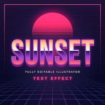 Efeito de texto criativo por do sol