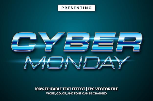 Efeito de texto cromo metálico da cyber monday