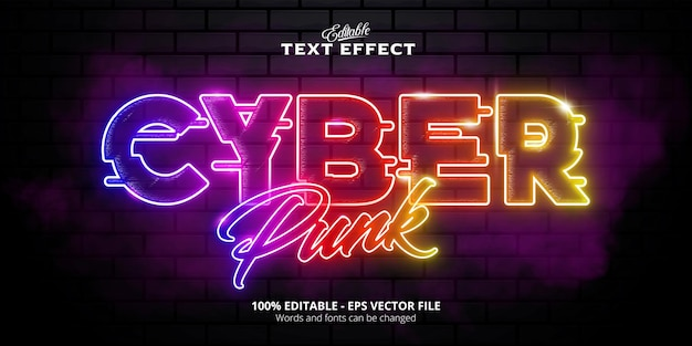 Efeito de texto cyber punk, efeito de texto editável em estilo neon