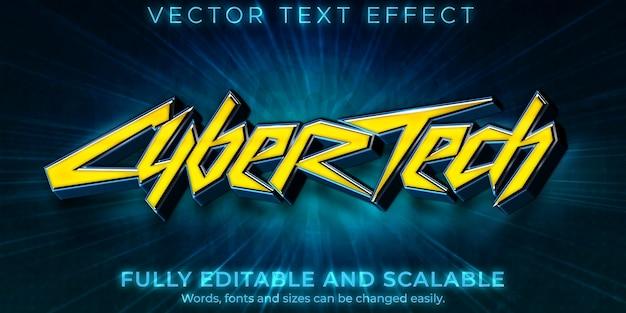 Efeito de texto cyberpunk, estilo de texto de jogo de ficção editável