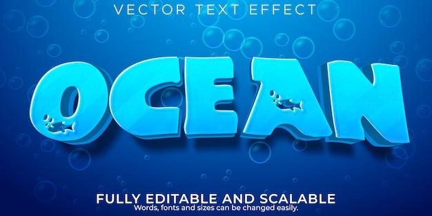 Efeito de texto da água do oceano, estilo de texto azul e líquido editável