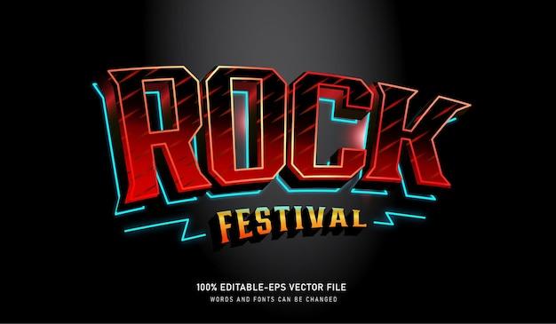Efeito de texto da caixa de neon do festival de rock com fonte editável