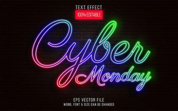 Efeito de texto da cyber monday estilo neon efeito de texto editável