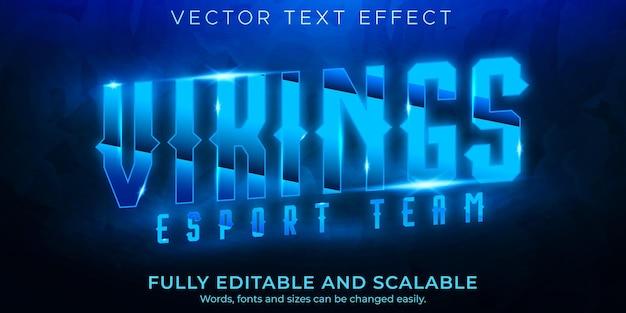 Efeito de texto da equipe esport, jogo editável e estilo de texto neon