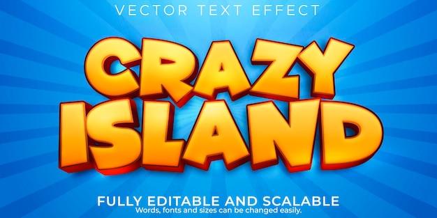 Efeito de texto da ilha; desenho editável e estilo de texto engraçado
