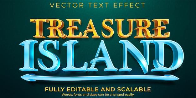 Efeito de texto da ilha do tesouro, pirata editável e estilo de texto tropical