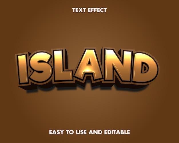 Efeito de texto da ilha. fácil de usar e editável. ilustração vetorial premium