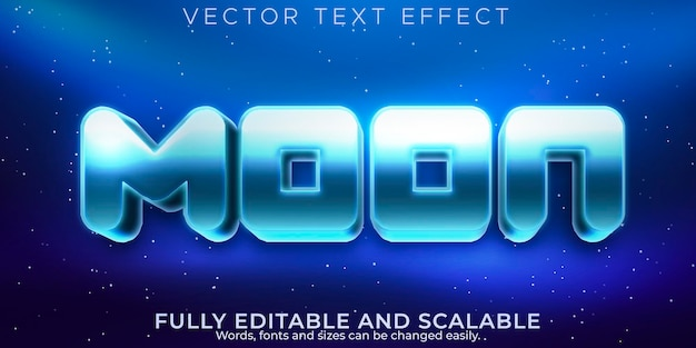 Efeito de texto da lua, estilo de texto editável metálico e espacial
