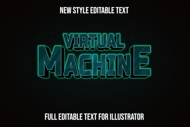 Efeito de texto da máquina virtual cor verde e gradiente preto