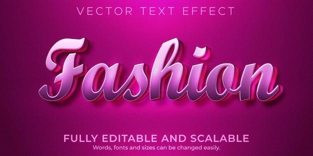 Efeito de texto da moda, rosa editável e estilo de texto de casamento