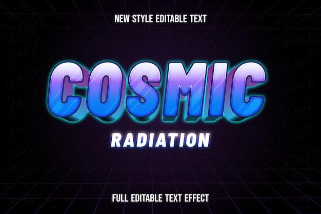 Efeito de texto da radiação cósmica de cor azul e roxo