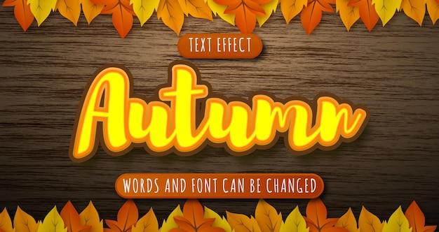 Efeito de texto da temporada de outono isolado em madeira e folhas editáveis eps cc