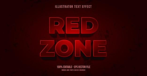 Efeito de texto da zona vermelha, estilo de texto editável