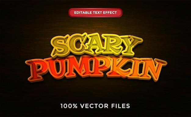 Efeito de texto de abóbora assustador vetor premium