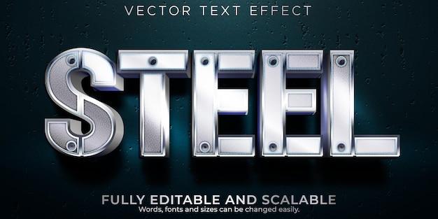 Efeito de texto de aço, estilo de texto editável metálico e brilhante