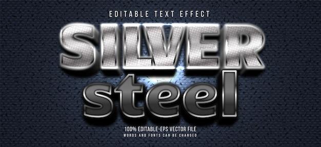 Efeito de texto de aço prateado Vetor Premium
